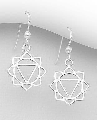 925 Sterling Silver Solar Plexus Chakra Hook Earrings